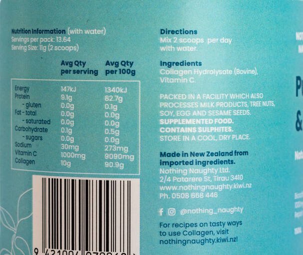 Nutrition Facts For Nothing Naughty Collagen Peptides Powder 150g