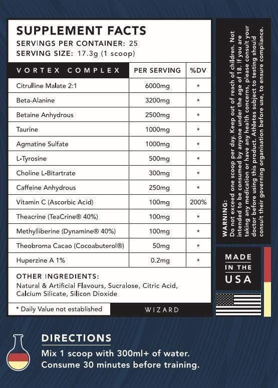 Nutrition Facts For Wizard Nutrition Vortex Pre-Workout