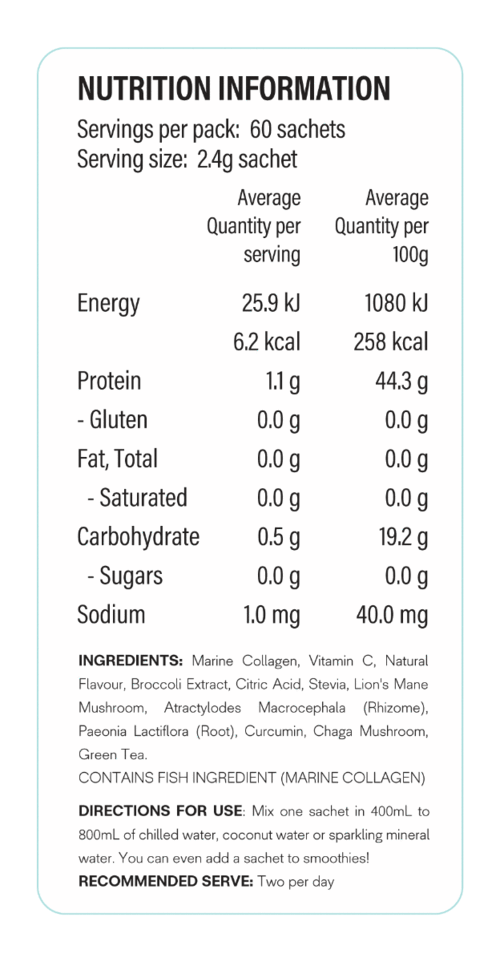 Nutrition Facts For X50 Fresh Tea 60 Serve