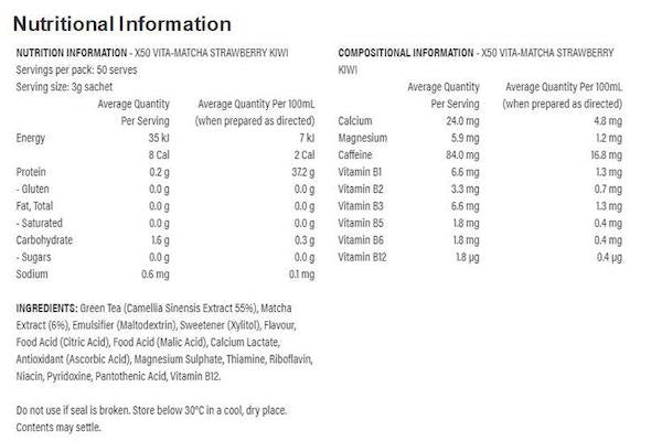 Nutrition Facts For X50 Green Tea Vita Matcha