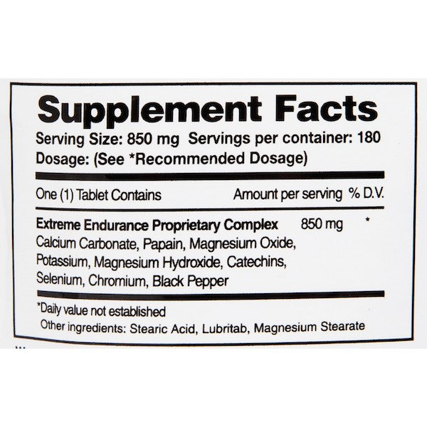 Nutrition Facts For Xendurance Extreme Endurance 180 Tabs