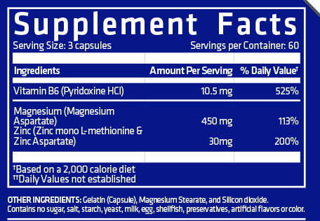 Nutrition Facts For USN Z-Mag+ 180 Caps