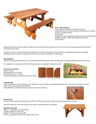 Best Redwood picnic table catalog