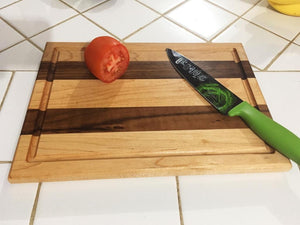 Mixed Maple and Walnut Edge grain With juice groove Cutting Board - Best Redwood