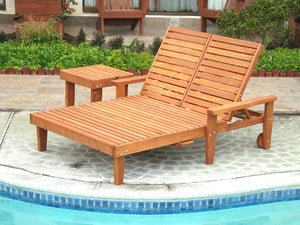 Outdoor Summer Redwood Chaise Lounge