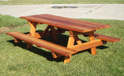 Outdoor Super Deck Redwood Picnic Table with attached benches