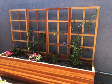 San Laura's Redwood Planter Box with Trellis - Best Redwood