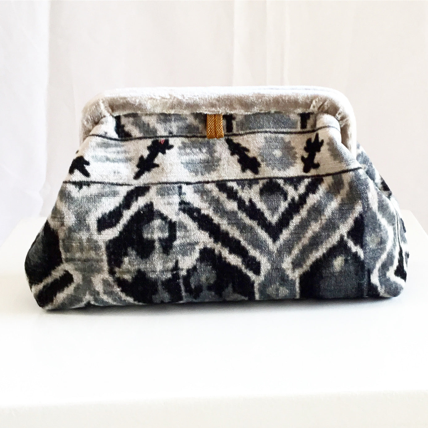 Marian Paquette Liette Ikat Patch Velvet Bag in Black and Grey