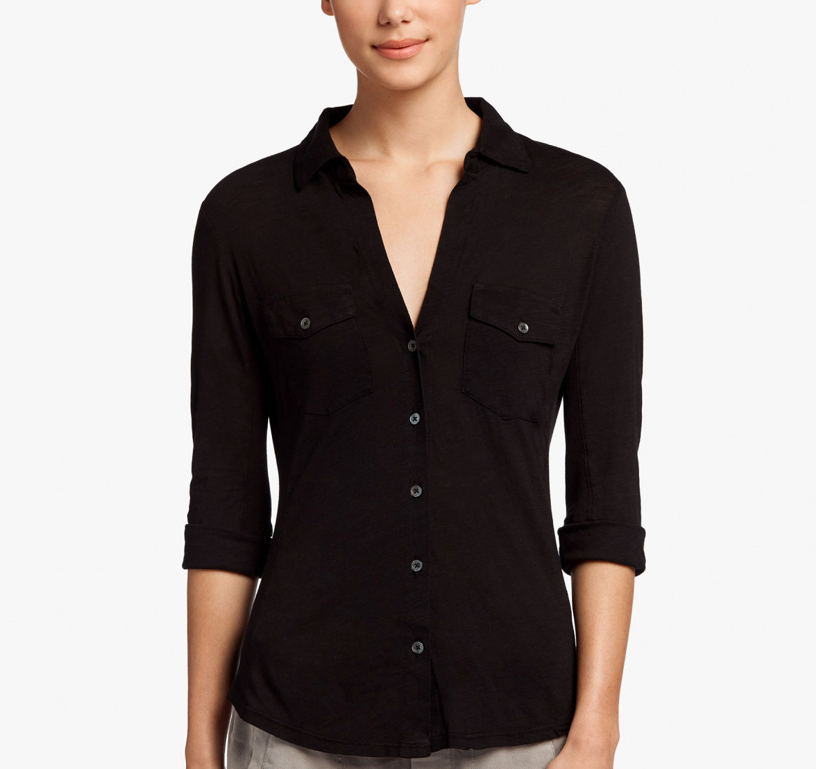 James Perse Contrast Panel Shirt Black
