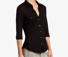 Load image into Gallery viewer, James Perse Contrast Panel Shirt Black
