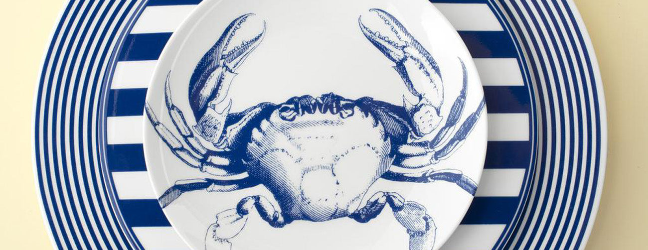 Caskata Blue Crabs & Blue Lobsters Dinnerware