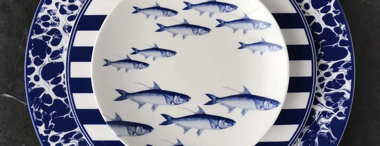 Caskata School of Fish Blue Dinnerware