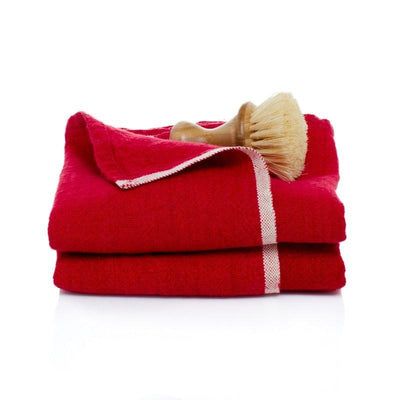 Caravan Chunky Linen Red Towel