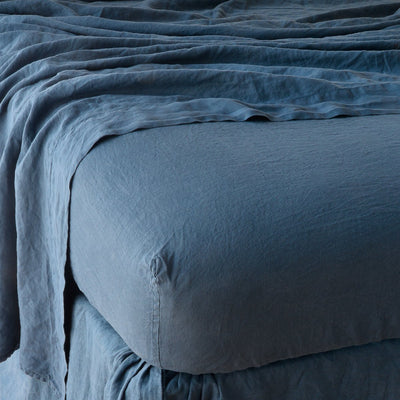 Bella Notte Linens Linen Midnight Fitted Sheet