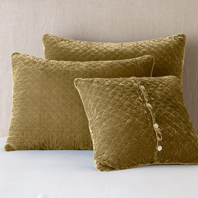 Bella Notte Linens Silk Velvet Quilted Honeycomb Pillow Shams