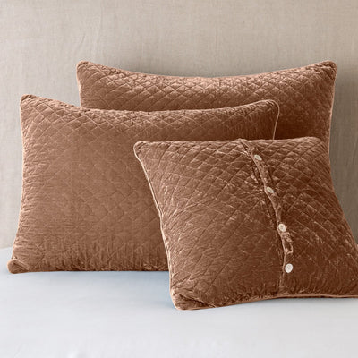 Bella Notte Linens Silk Velvet Quilted Rouge Pillow Shams