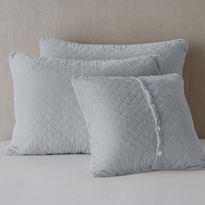 Bella Notte Linens Silk Velvet Quilted Sterling Pillow Shams