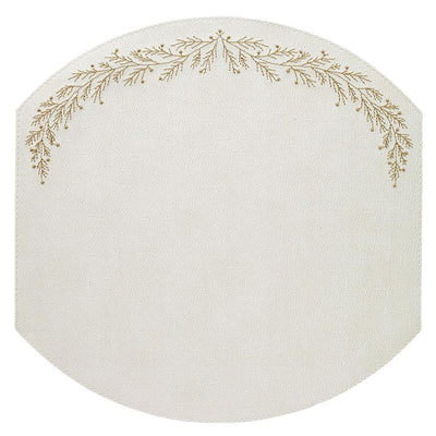Bodrum Linens Holly Antique White/Gold Placemat