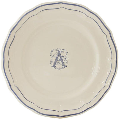 Gien Filet Bleu Monogram Dinner Plate A