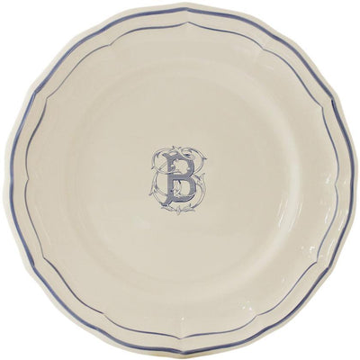 Gien Filet Bleu Monogram Dinner Plate B