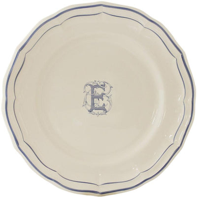 Gien Filet Bleu Monogram E Dinner Plate