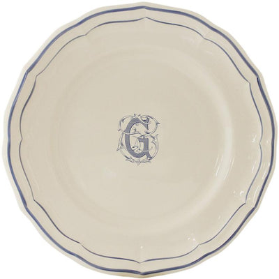 Gien Filet Bleu Monogram G Dinner Plate