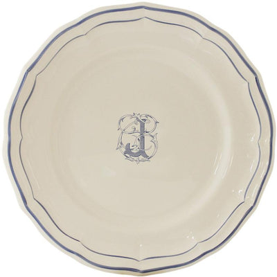 Gien Filet Bleu Monogram J Dinner Plate