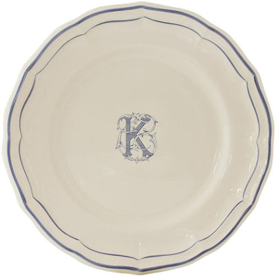 Gien Filet Bleu Monogram K Dinner Plate