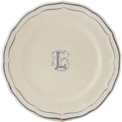 Gien Filet Bleu Monogram L Dinner Plate
