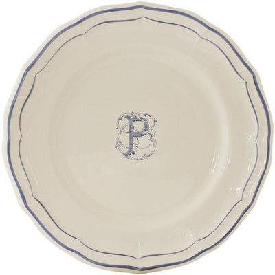 Gien Filet Bleu Monogram P Dinner Plate