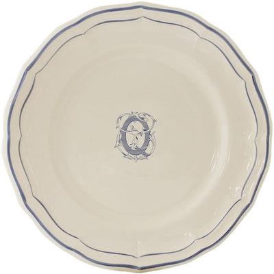 Gien Filet Bleu Monogram Q Dinner Plate