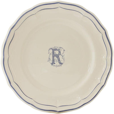 Gien Filet Bleu Monogram R Dinner Plate