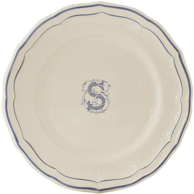 Gien Filet Bleu Monogram S Dinner Plate