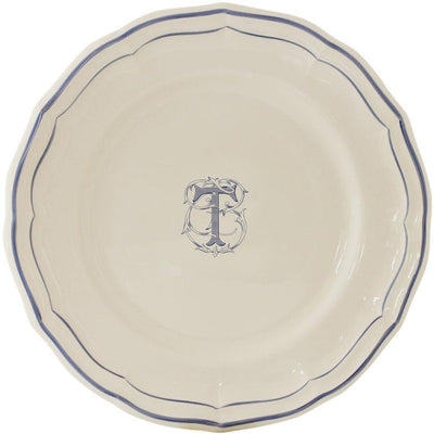 Gien Filet Bleu Monogram T Dinner Plate
