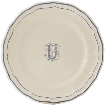 Gien Filet Bleu Monogram U Dinner Plate