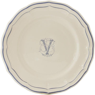 Gien Filet Bleu Monogram V Dinner Plate