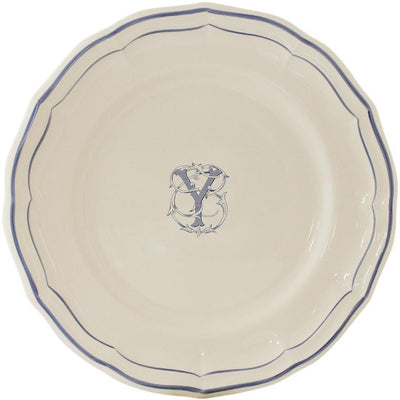 Gien Filet Bleu Monogram Y Dinner Plate