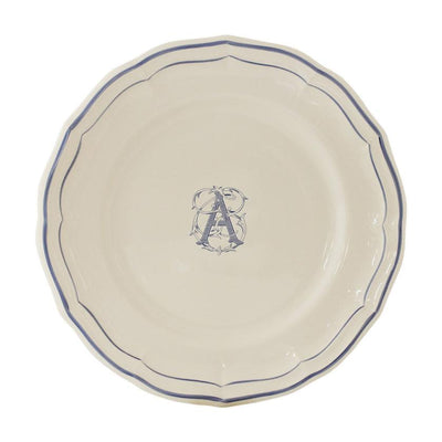 Gien Filet Blue Monogram A Dessert Plate