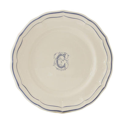 Gien Filet Blue Monogram C Dessert Plate