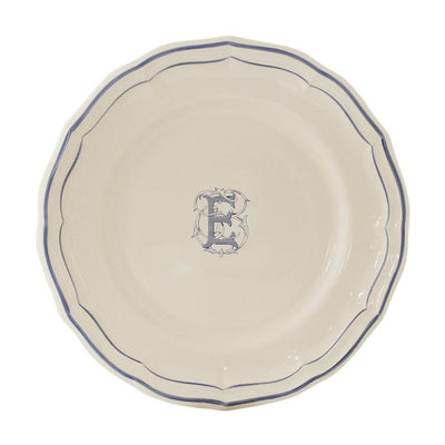 Gien Filet Blue Monogram E Dessert Plate