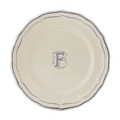 Gien Filet Blue Monogram F Dessert Plate