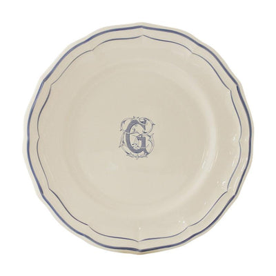 Gien Filet Blue Monogram G Dessert Plate