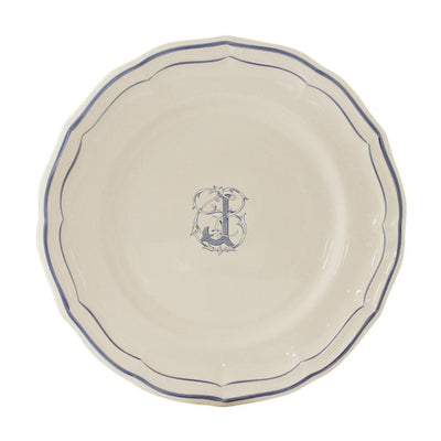 Gien Filet Blue Monogram J Dessert Plate