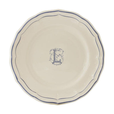 Gien Filet Blue Monogram L Dessert Plate