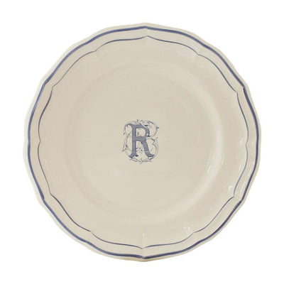 Gien Filet Blue Monogram R Dessert Plate
