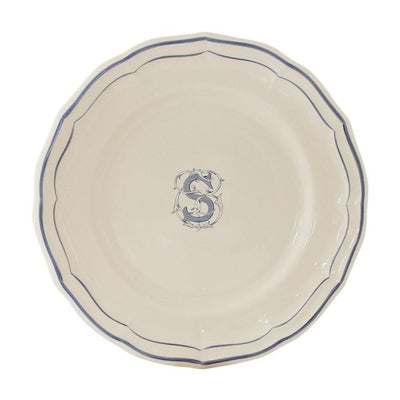 Gien Filet Blue Monogram S Dessert Plate