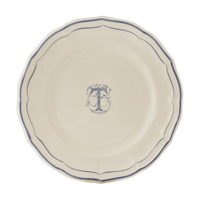 Gien Filet Blue Monogram T Dessert Plate