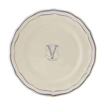 Gien Filet Blue Monogram V Dessert Plate