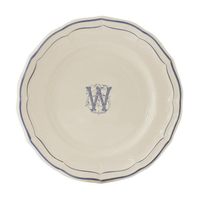 Gien Filet Blue Monogram W Dessert Plate