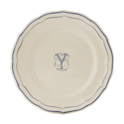 Gien Filet Blue Monogram Y Dessert Plate
